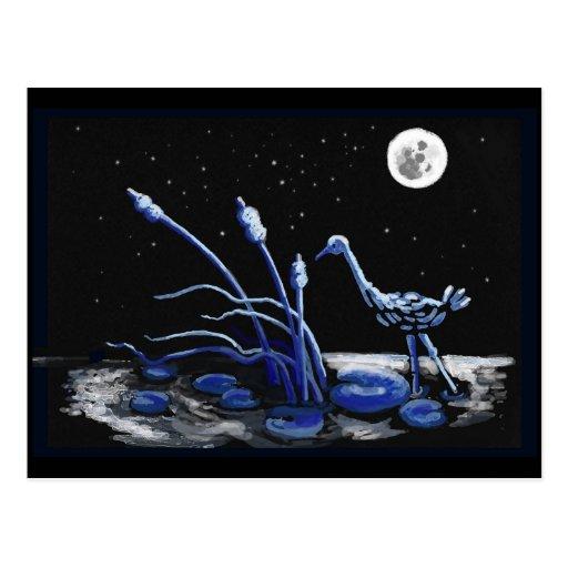 Garza en una noche iluminada por la luna tarjeta postal