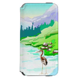 Garza por el río/la naturaleza prístina funda billetera para iPhone 6 watson