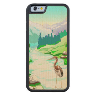 Garza por el río/la naturaleza prístina funda de iPhone 6 bumper arce
