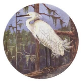 Garza preciosa en el pantano que pinta la placa de plato para fiesta