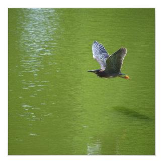 Garza verde en Mid Air Invitación 13,3 Cm X 13,3cm