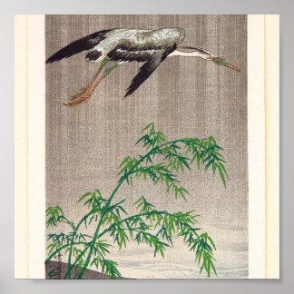 Garza y bambú de Seitei Watanabe 1851 - 1918 Póster