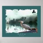 Garzas, Egret, cuervos, libélulas, arte del desier Poster