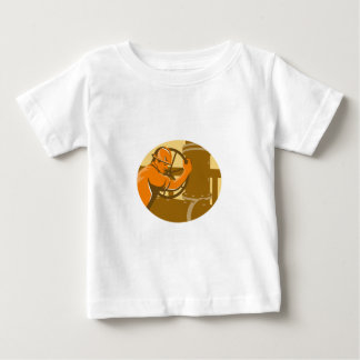 gas and oil worker closing pipeline pipe valve shirt