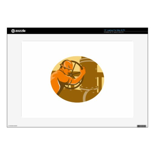 gas and oil worker closing pipeline pipe valve decal for laptop