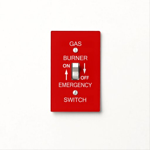 gas burner emergency switch plate safety signage switch