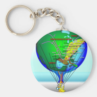 Gas Can Canary Hot Air Balloon Keychain