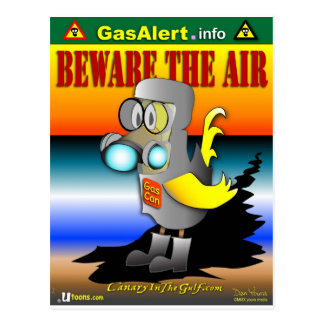 Gas Can Canary in HazMat suit Postcard