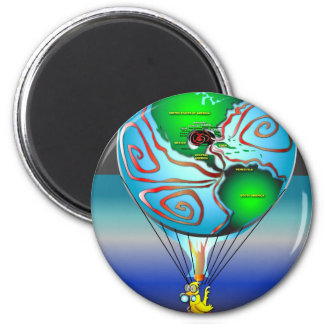 Gas Can Canary in Map Blimp 2 Inch Round Magnet