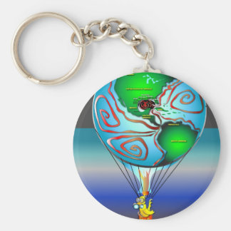 Gas Can Canary in Map Blimp Key Chain