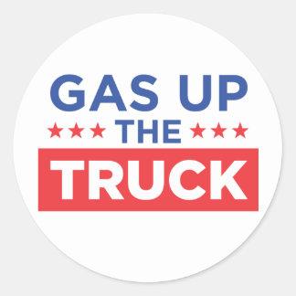 Gas encima del camión pegatina redonda