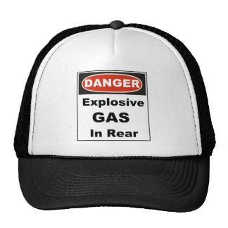 Gas explosivo del peligro en parte posterior gorras