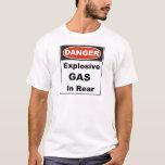 Gas explosivo del peligro en parte posterior playera