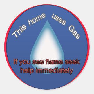 gas home warning round sticker