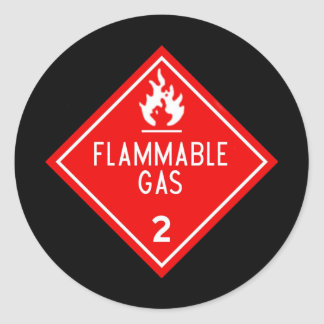 gas inflamable pegatinas redondas