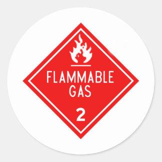 gas inflamable pegatina redonda