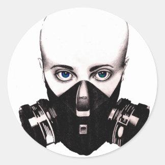 Gas Mask Beaty Classic Round Sticker