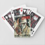 "Gas Mask Bicycle Playing Cards<br><div class=""desc"">Retro World War II Propaganda Poster Take Care of your GAS MASK. Designed for Living</div>"