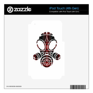 gas mask black red plaid iPod touch 4G skins