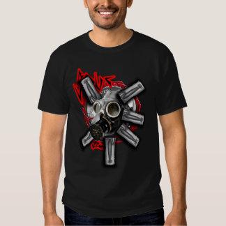 Gas mask bombs industrial mens guys hardcore tee shirt