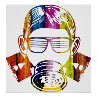 Gas Mask Cool Kid Poster