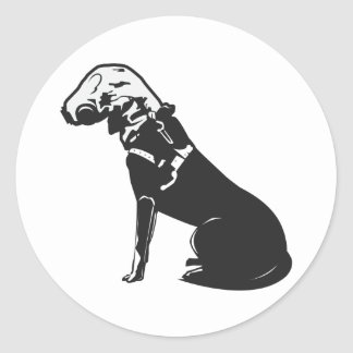 Gas Mask Doggie Classic Round Sticker