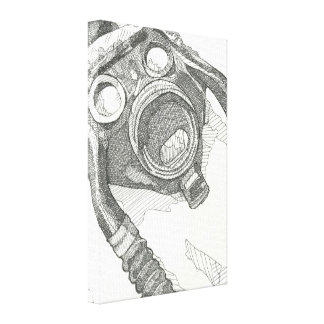 Gas mask drawing wrapped canvas