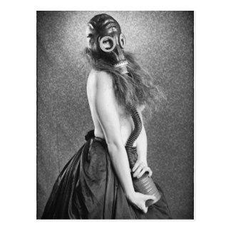 Gas  Mask Girl Postcard