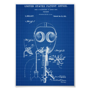 Blueprint posters zazzle gas mask patent blueprint poster malvernweather Gallery