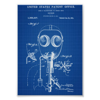 Gas Mask Patent - Blueprint Poster