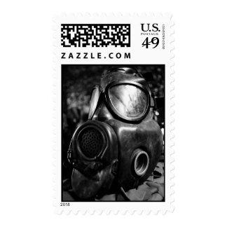 Gas mask postage stamp