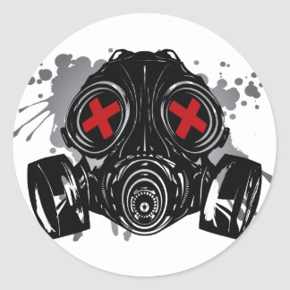 GAS_MASK_PROTECTION CLASSIC ROUND STICKER