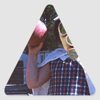 Gas mask red ball triangle sticker