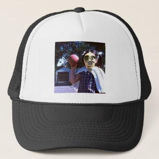 Gas mask red ball trucker hat