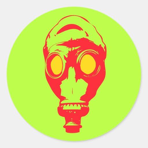 Gas Mask Round Stickers