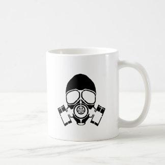 gas mask stencil logo coffee mug