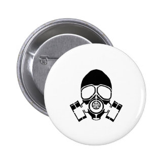 gas mask stencil logo pinback button