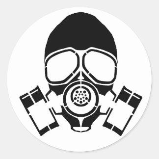 gas mask stencil logo round sticker