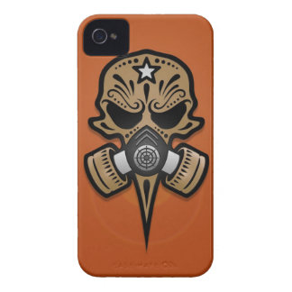 Gas Mask Sugar Skull, Brown iPhone 4 Cover