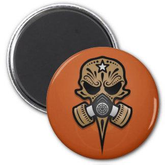 Gas Mask Sugar Skull, Brown Refrigerator Magnet