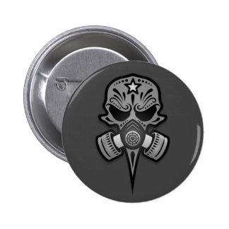 Gas Mask Sugar Skull, Grey Button