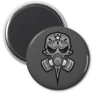 Gas Mask Sugar Skull, Grey Refrigerator Magnets