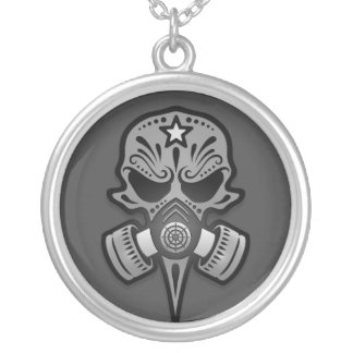 Gas Mask Sugar Skull Grey Personalized Necklace