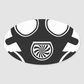 Gas mask vector oval sticker