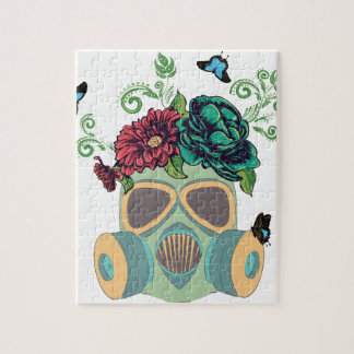 Gas Mask with Roses4 Jigsaw Puzzle