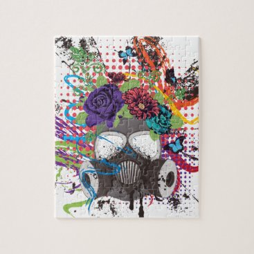 Gas Mask with Roses 5 Jigsaw Puzzle