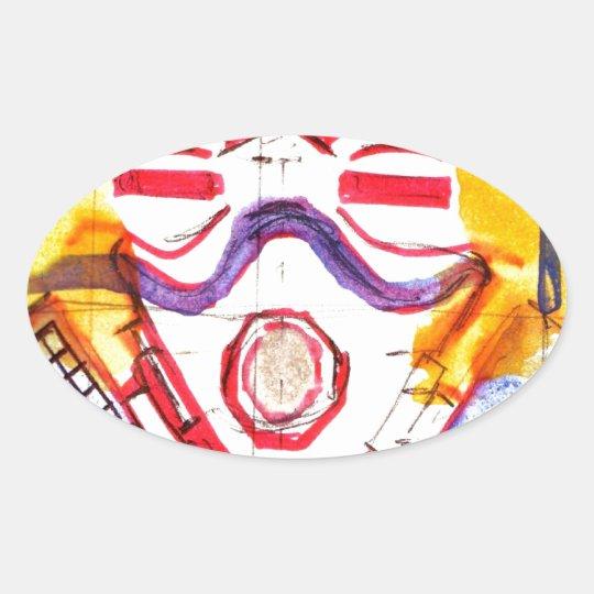 Gas Masked Soldier Oval Sticker
