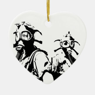 Gas Masks in Black Ceramic Ornament