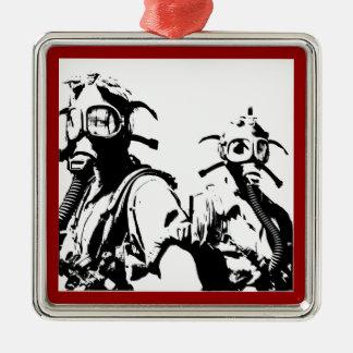 Gas Masks in Black Metal Ornament