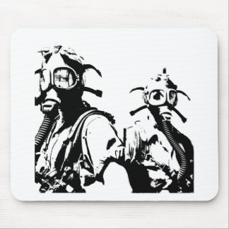 Gas Masks in Black Mouse Pad